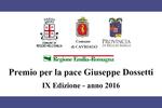 """Premio per la Pace """"Giuseppe Dossetti"""" IX edizione – anno 2016"""