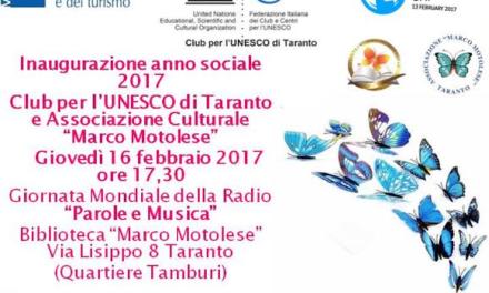 """Inaugurazione anno sociale Club UNESCO Taranto e Associazione """"Marco Motolese"""""""