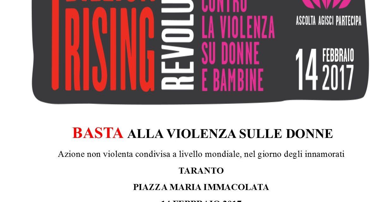"""Il 14 febbraio anche a Taranto """"One Billion Rising Revolution"""""""