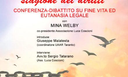 Taranto, dibattito sul fine vita con Mina Welby