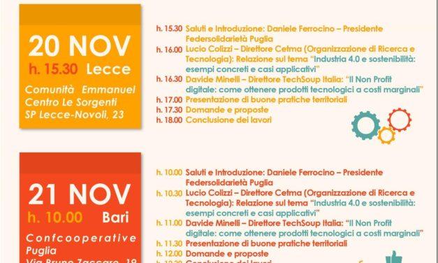 Tecnologie e innovazione al servizio del terzo settore: seminari a Lecce e Bari