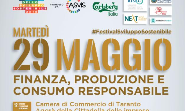 """""""Festival italiano dello Sviluppo Sostenibile"""", anche a Taranto si parla di finanza, produzione e consumo responsabile"""