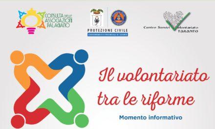 Il volontariato tra le riforme, se ne parla a Palagiano l'11 dicembre