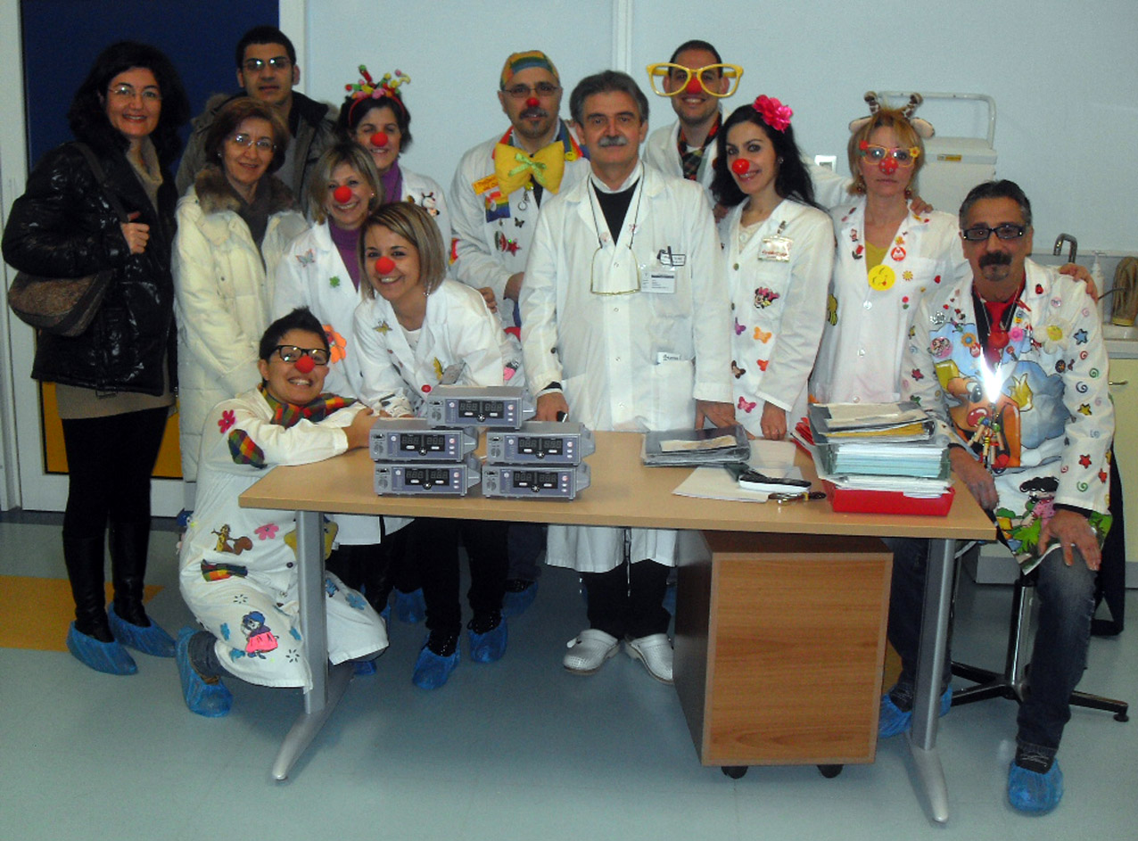 I volontari di Mister Sorriso oggi in Pediatria