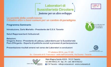 Arena a Taranto per affrontare il tema dell'amministrazione condivisa dei beni comuni