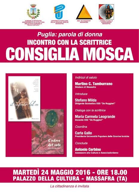 """Progetto """"Puglia: parola di donna"""" – incontro con la scrittrice Consiglia Mosca"""