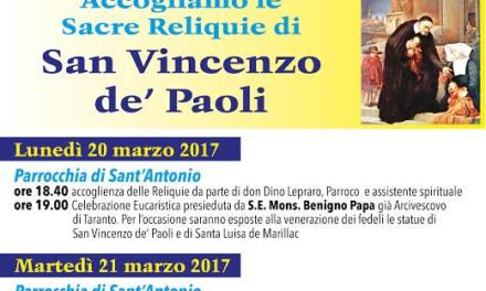 Le sacre reliquie di San Vincenzo de' Paoli  a Martina Franca