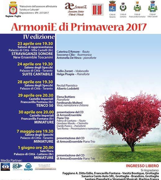 """MUSICA ad ARTE """"ArmoniE di Primavera 2017 – IV edizione"""", nuovo appuntamento"""