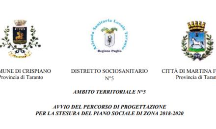 Percorso di progettazione per la stesura del Piano sociale di Zona ambito Ta/5