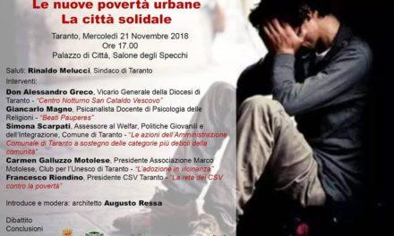 """""""Le nuove povertà urbane – La città solidale"""", se ne parla in un convegno a Taranto"""