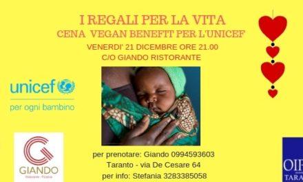 """""""I doni della vita"""", cena vegan benefit a sostegno dell' UNICEF"""