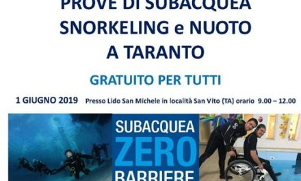 """""""Zero Barriere"""", prove di nuoto, subacquea e snorkeling…oltre ogni barriera"""