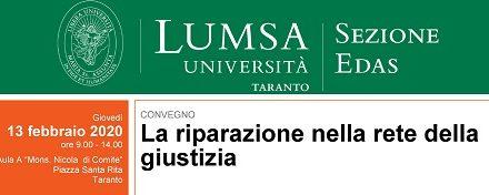 """A Taranto il convegno della LUMSA, """"La riparazione nella rete della giustizia"""""""