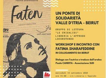 """""""Un ponte di solidarietà Valle d'Itria – Beirut 2020"""". Workshop con la scrittrice Fatima Sherafeddine"""