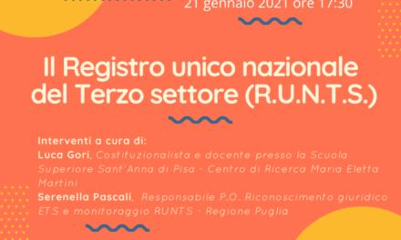 Il Registro unico nazionale del Terzo settore (R.U.N.T.S.) – webinar