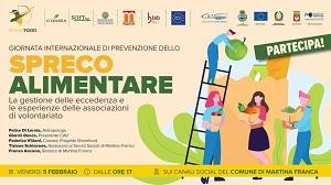 8^ Giornata nazionale di Prevenzione dello spreco alimentare. A Martina Franca un evento rivolto alle associazioni di volontariato
