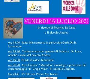 Riprendono le iniziative dell'A.Ge. Taranto con la XV edizione del Premio A.GE. e il ricordo di Federica De Luca