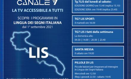 I programmi in LIS su Canale 7 dal 1 settembre